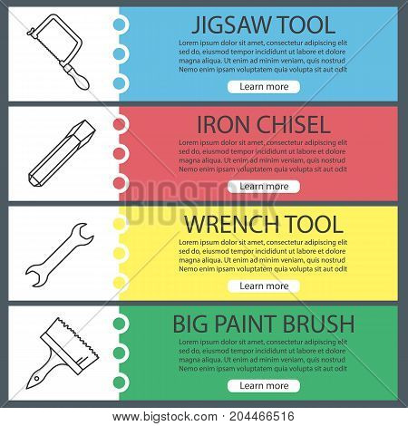 Construction tools web banner templates set. Jigsaw, iron chisel, wrench, paint brush. Website color menu items with linear icons. Vector headers design concepts