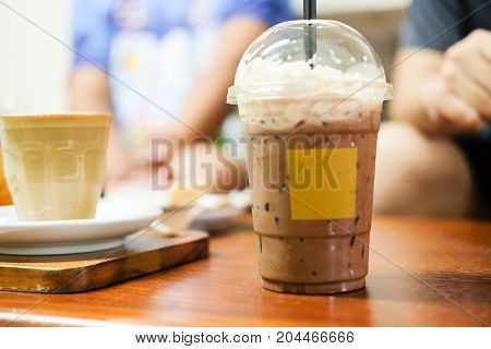 Iced Cocoa Drink With Whipping Cream
