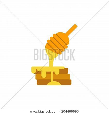 Icon of honey dipper and pancakes. Dessert, breakfast, dish. Bee garden concept. Can be used for topics like menu, cafe, food