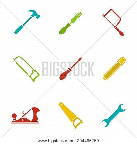 Construction tools glyph color icon set. Hammer, chisels, hacksaw, fretsaw, hand saw, jack plane, screwdriver, wrench. Silhouette symbols on white backgrounds. Negative space. Vector illustrations
