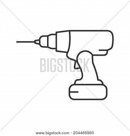 Cordless drill linear icon. Thin line illustration. Contour symbol. Vector isolated outline drawing