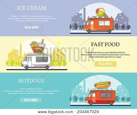 Vector set of street food truck horizontal banners. Ice cream, Fast food, Hot dog concept flat style design elements for street food business advertising.