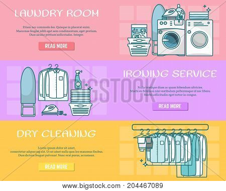 Vector set of laundry horizontal banners. Laundry room, Ironing service and Dry cleaning creative linear style design elements for web sites, web banners and printed materials.