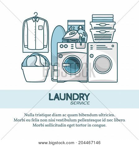 Laundry service concept vector illustration. Creative linear flat design element for web banners, posters, flyers and printed materials.