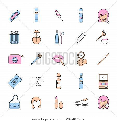 Cosmetics accessories color icons set. Women goods. Hygienic care products. Toiletries. Makeup. Isolated vector illustrations