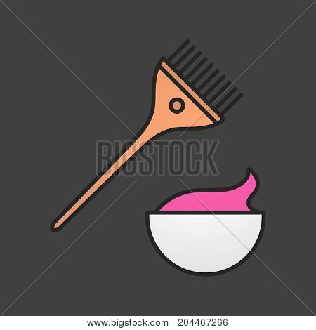 Hair dyeing kit color icon. Brush with cream in bowl. Isolated vector illustration