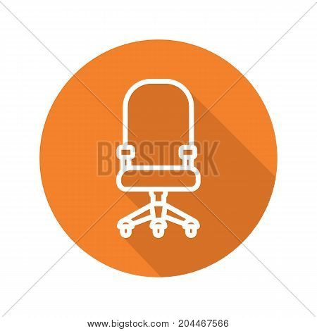 Computer chair flat linear long shadow icon. Office chair on wheels. Vector outline symbol