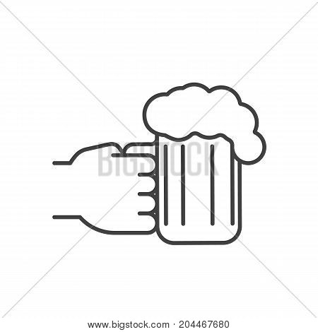 Hand holding beer glass linear icon. Thin line illustration. Cheers. Contour symbol. Vector isolated outline drawing