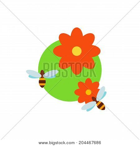 Icon of bees pollinating flower. Insect, bug, meadow. Bee garden concept. Can be used for topics like summer, nature, apiary