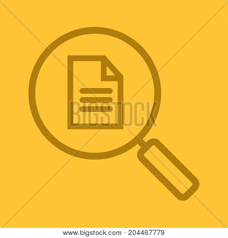 Document search linear icon. Magnifying glass with text document. Thick line outline symbols on color background. Vector illustration