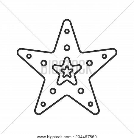 Sea star linear icon. Thin line illustration. Contour symbol. Vector isolated outline drawing