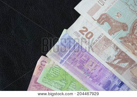 Some Banknotes Of Georgian Lari On A Dark Background