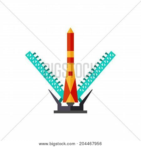 Icon of space shuttle launch. Countdown, flight, spacecraft. Cosmos concept. Can be used for topics like science, space exploration, cosmodrome