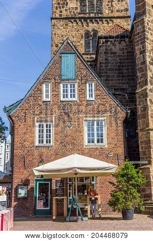 BREMEN, GERMANY - AUGUST 23, 2017: Little bakery shop in the historical center of Bremen Germany