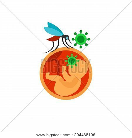 Icon of zika virus. Infection, diagnosis, carrier. Mosquito prevent concept. Can be used for topics like pandemic, danger, prevention
