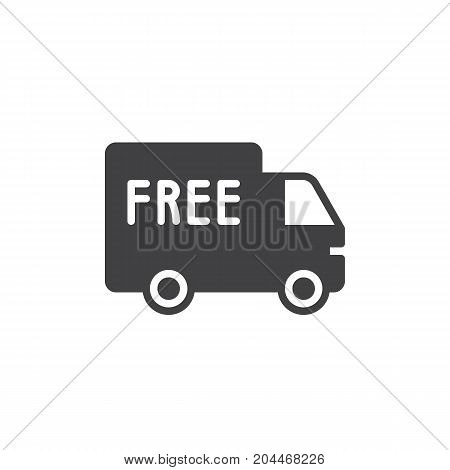 Free shipping truck icon vector, filled flat sign, solid pictogram isolated on white. Symbol, logo illustration. Pixel perfect vector graphics