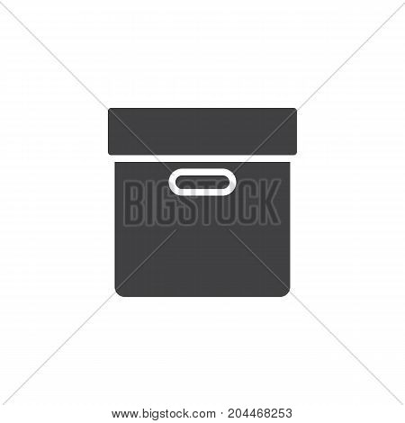 Package cardboard box icon vector, filled flat sign, solid pictogram isolated on white. Symbol, logo illustration. Pixel perfect vector graphics