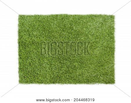 Square green grass or turf isolated on white
