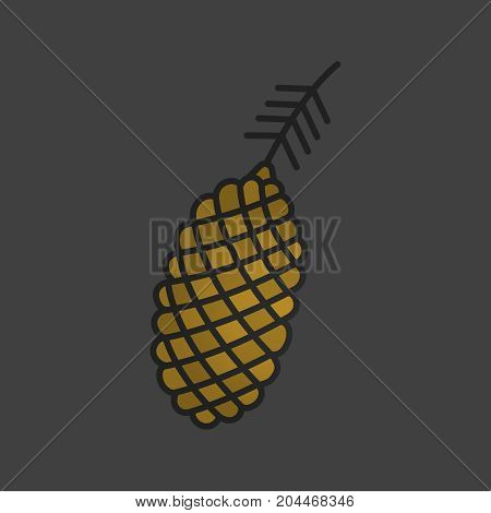 Pinecone, pine cone color icon. Pine branch. Forestry Isolated vector illustration
