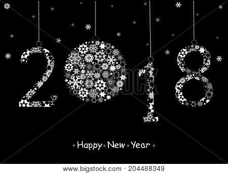 Happy New Year 2018 greeting card from white snowflakes.