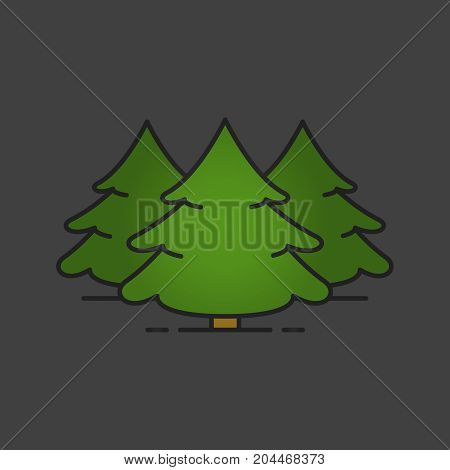 Fir forest color icon. Spruce. Christmas tree. Forestry. Isolated vector illustration