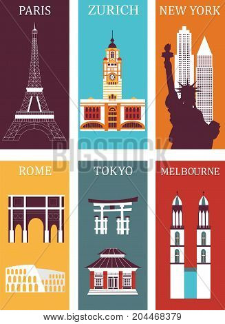 Famous cities in bright colors made from different parts