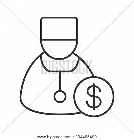 Doctor services linear icon. Thin line illustration. Therapist with dollar sign. Contour symbol. Vector isolated outline drawing