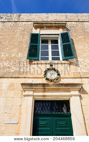 Traditional Maltese building in Bastion Square Mdina Malta Europe.