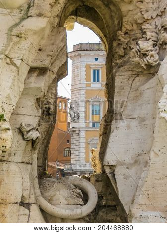 Details of sculptures and buildings of Rome. Rome, Italy. Vertical shot