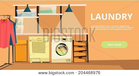 Vector laundry horizontal flat banner with laundry equipment. Laundry service concept design element for web sites, web banners and printed materials.