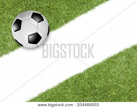 Soccer Ball On Green Turf With Diagonal White Line