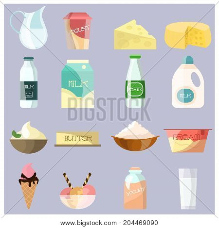 Vector set of dairy products icons. Milk, yogurt, cheese, butter, kefir, ice cream, whipped cream flat style design elements.