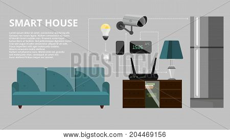Smart house infographic concept vector illustration. Modern household appliances and equipment icons, symbols, design elements.