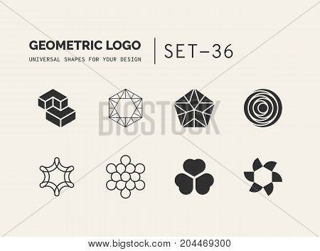 Set of universal minimal geometric logos. Simple vector sign will give a recognizable accent to your startup