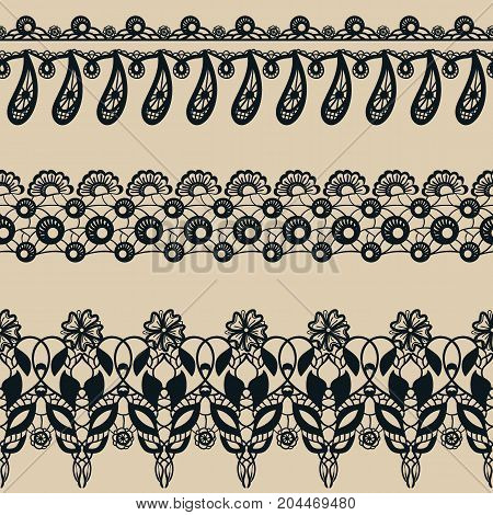 Vector set of lace seamless borders. Collection of decorative patterns: flowers and leaves. Ornamental floral motifes. Lacy vintage ornaments