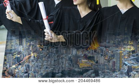 the people with black graduation gowns hold the diploma stand. With Overlay nighttime modern city