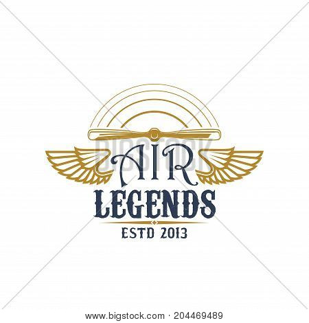 Airplane propeller symbol of retro aviation. Rotating plane airscrew with wing on both sides and text Air Legends for flying club badge, air show emblem or vintage air transport theme design
