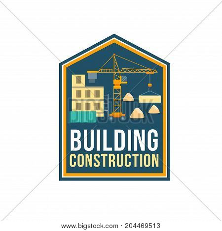 Construction company symbol of building site with crane, construction material and panel house. Home building, architecture and planning work themes design