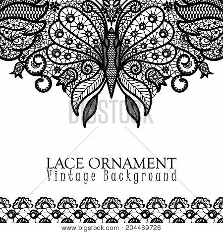 Vector decorative background with lace design and place for text. Black and white floral pattern with decorative flowers, leaves and butterfly. Lacy vintage ornament