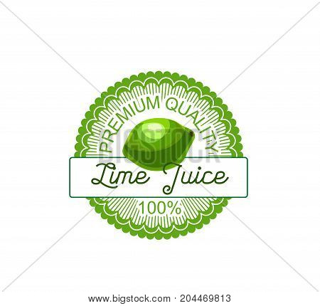 Lime fruit label of natural citrus juice. Fresh green lime or lemon round badge for vitamin drink, jam or dessert packaging, vegetarian food and organic farm symbol design