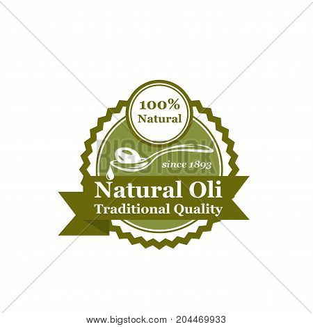 Natural olive oil label or badge. Green olive fruit on spoon with oil drop retro seal, decorated with ribbon banner for food packaging and extra virgin olive oil bottle design