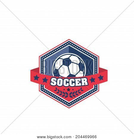 Soccer ball shield badge of football sport game. Sport ball symbol of soccer match, sport team competition or football championship design, decorated with stars and laurel wreath