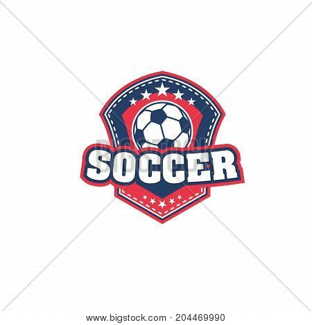 Football or soccer ball icon of sport team or club badge. Soccer sport ball on heraldic shield with star for football sport game competition or soccer championship match emblem design