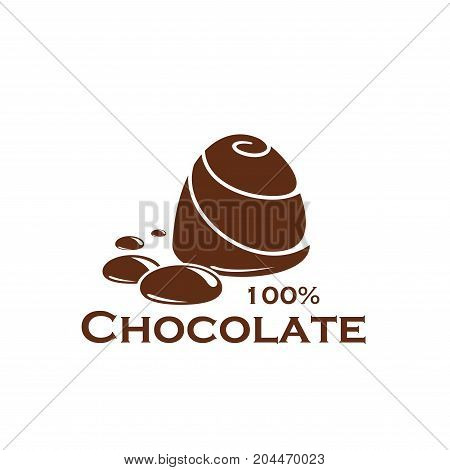 Chocolate icon of sweet dessert food. Dark chocolate candy with melted chocolate drops brown symbol for cocoa dessert label, sweet shop and confectionery product packaging label design