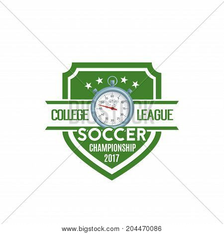 Soccer shield label of football sport game club or team. Sporting stopwatch badge with star and ribbon banner for soccer sport game championship match or football tournament emblem design