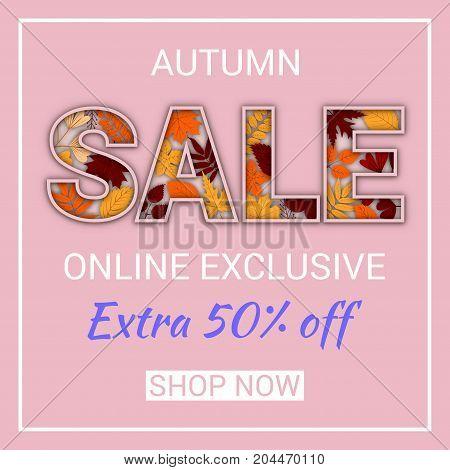 Social media autumn sale banner design template.  Vector illustration for promo website banner, poster, card. Paper cut fall leaves. EPS10.