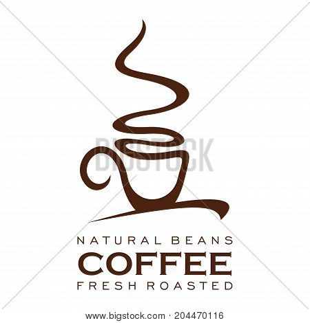 Coffee cup with steam brown icon. Natural coffee drink symbol with mug of hot espresso and cappuccino, chocolate or latte for coffeeshop, cafe or restaurant emblem, coffee product label design