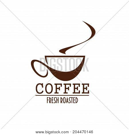 Coffee cup brown label of coffee shop or cafe menu. Espresso, cappuccino or latte hot drink in mug with swirl of steam. Coffee bean packaging or takeaway beverage paper cup design