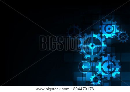 Gears in technology concept on a dark blue background.