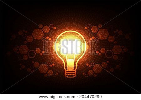 Vector technology light bulb design on a dark orange background.